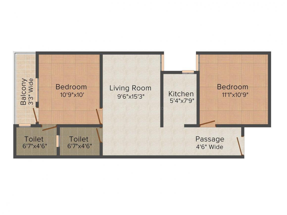 Floor Plan Image of 0 - 594.0 Sq.ft 2 BHK Independent Floor for buy in Krishna Bharat Builder Project - 2