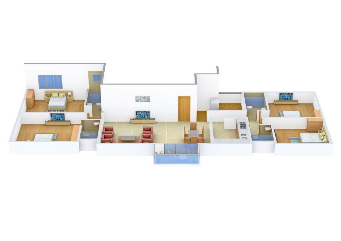 S Raheja Natraj Floor Plan: 4 BHK Unit with Built up area of 1600 sq.ft 1