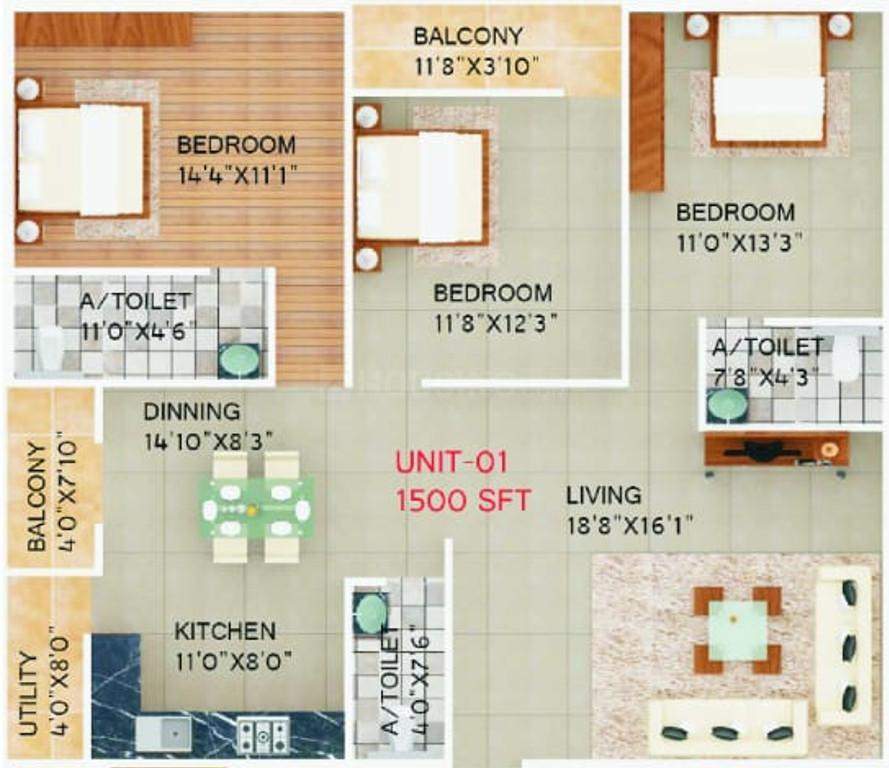 Brightway Divine Floor Plan: 3 BHK Unit with Built up area of 1500 sq.ft 1