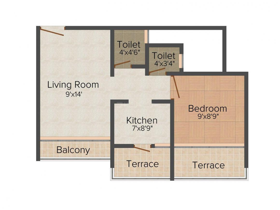 Floor Plan Image of 465.0 - 710.0 Sq.ft 1 BHK Apartment for buy in Ugam Paradise