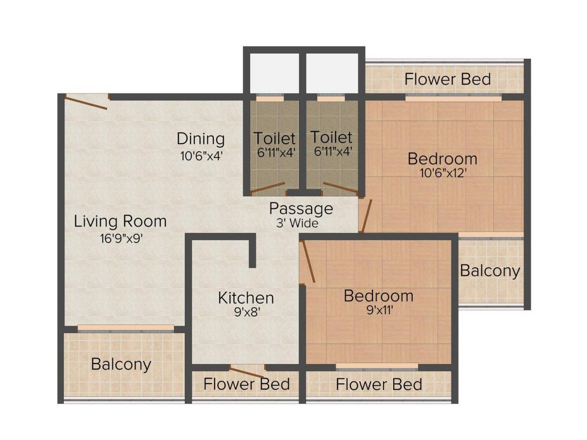 Floor Plan Image of 1175.0 - 1600.0 Sq.ft 2 BHK Apartment for buy in S. R. Thakur Residency