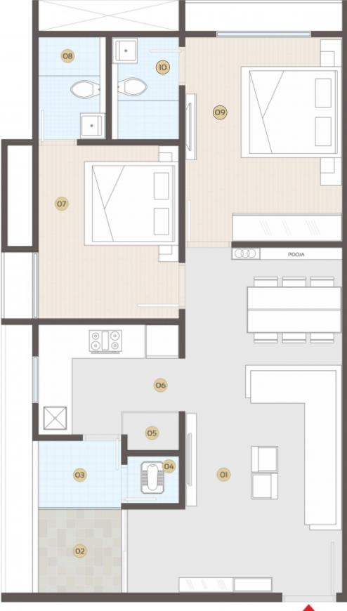 Anmol Solitaire Vista Floor Plan: 2 BHK Unit with Built up area of 677 sq.ft 1