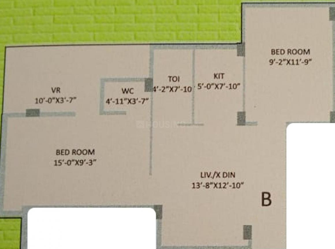 Fiesta Tower Floor Plan: 2 BHK Unit with Built up area of 814 sq.ft 1