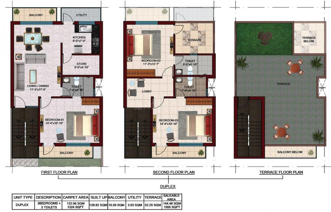 Sanfran Estate Floor Plan: 3 BHK Unit with Built up area of 1324 sq.ft 1