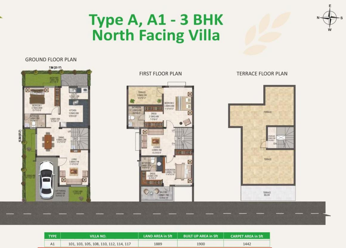 Casagrand Verdant Floor Plan: 3 BHK Unit with Built up area of 1900 sq.ft 1