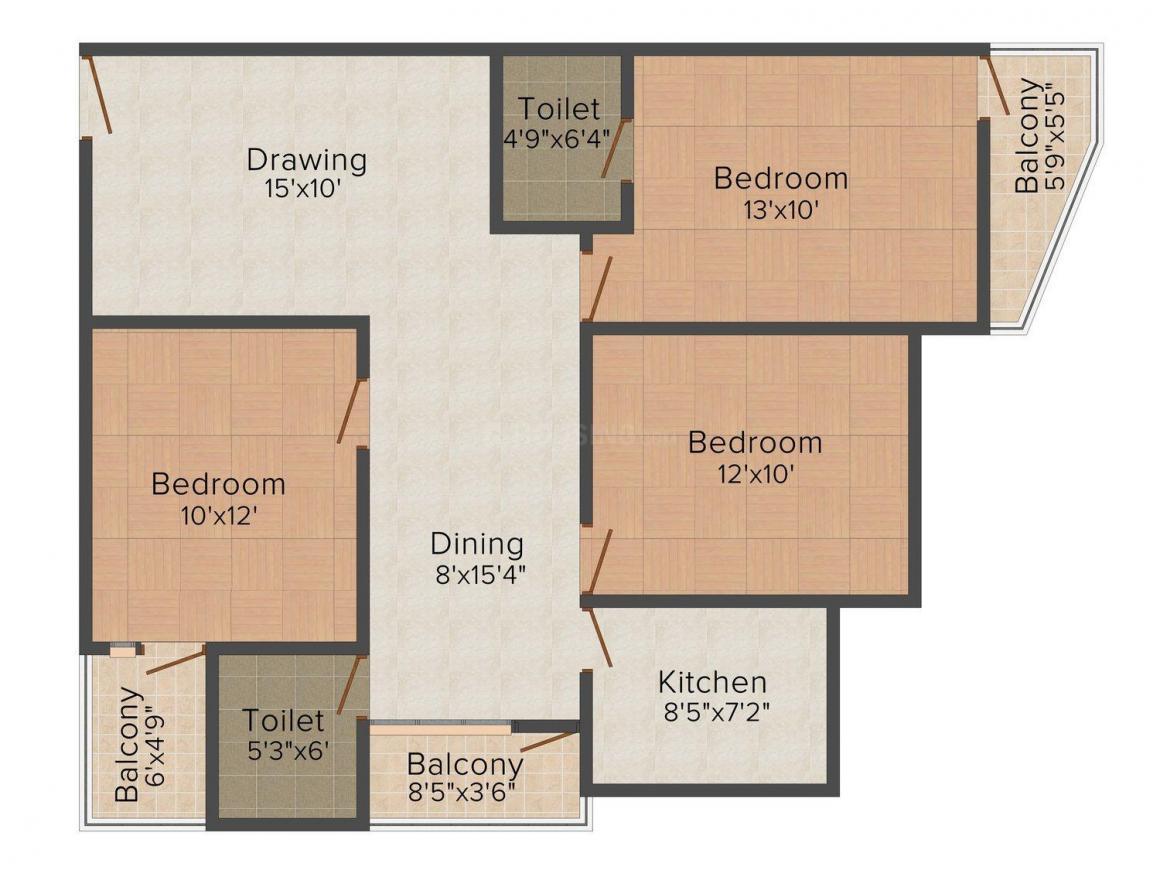 Badal Kutir Floor Plan: 3 BHK Unit with Built up area of 1357 sq.ft 1