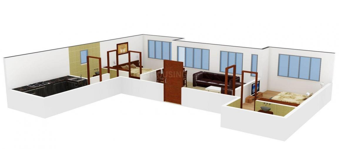 KT Residency Floor Plan: 2 BHK Unit with Built up area of 710 sq.ft 1