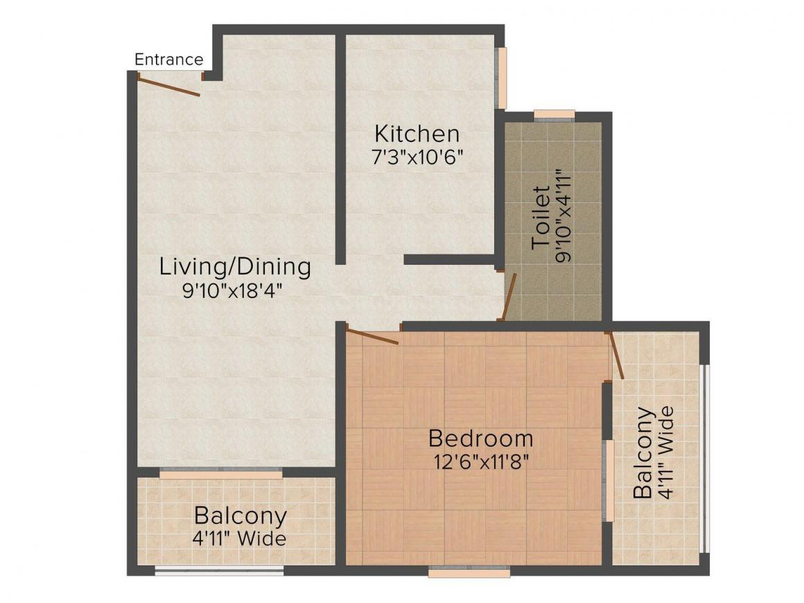 Floor Plan Image of 754 - 1039 Sq.ft 1 BHK Apartment for buy in Hum Greenfield