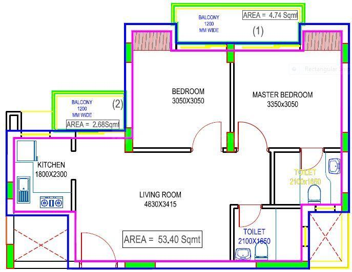 Floor Plan Image of 574.79 - 732.81 Sq.ft 2 BHK Apartment for buy in Excella Kutumb Phase II
