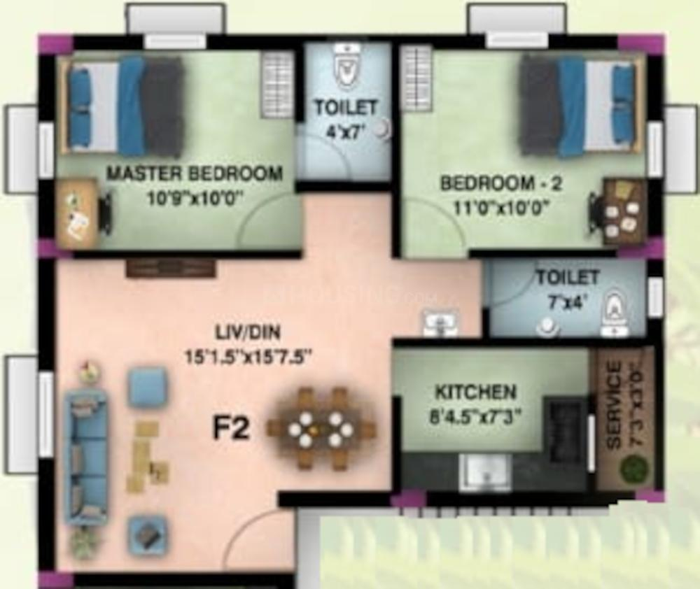 M M Almond Floor Plan: 2 BHK Unit with Built up area of 875 sq.ft 1