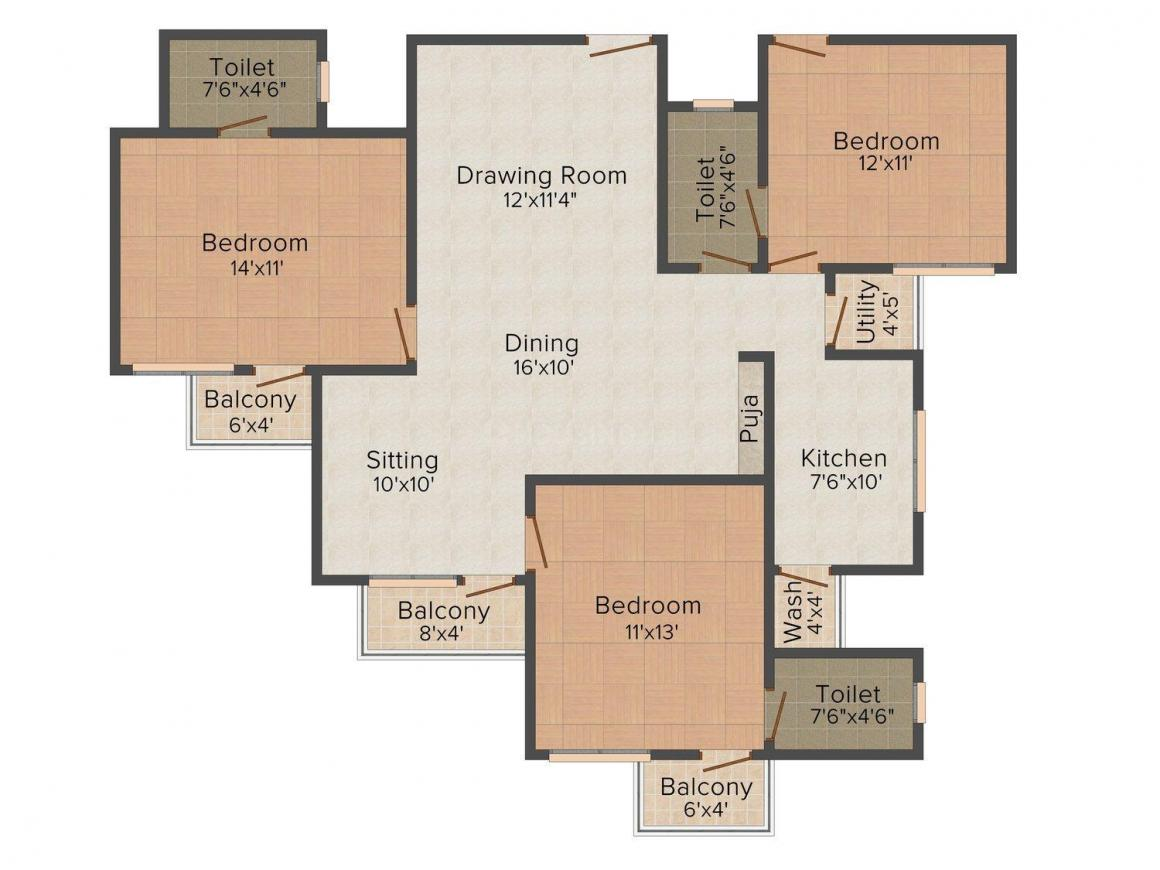 IBD Kingspark Floor Plan: 3 BHK Unit with Built up area of 1820 sq.ft 1