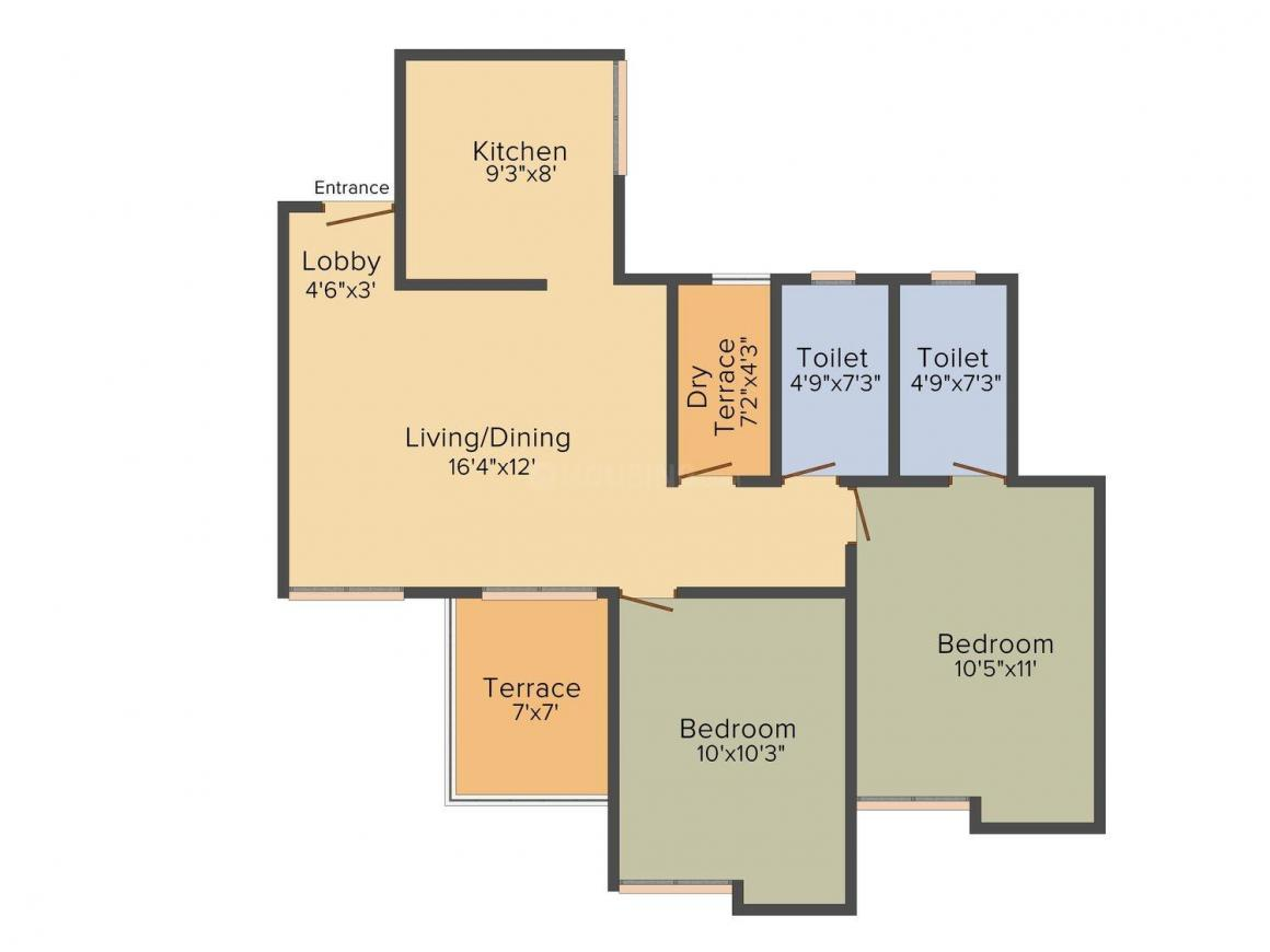 Gada Anutham Phase 1 Floor Plan: 2 BHK Unit with Built up area of 693 sq.ft 1