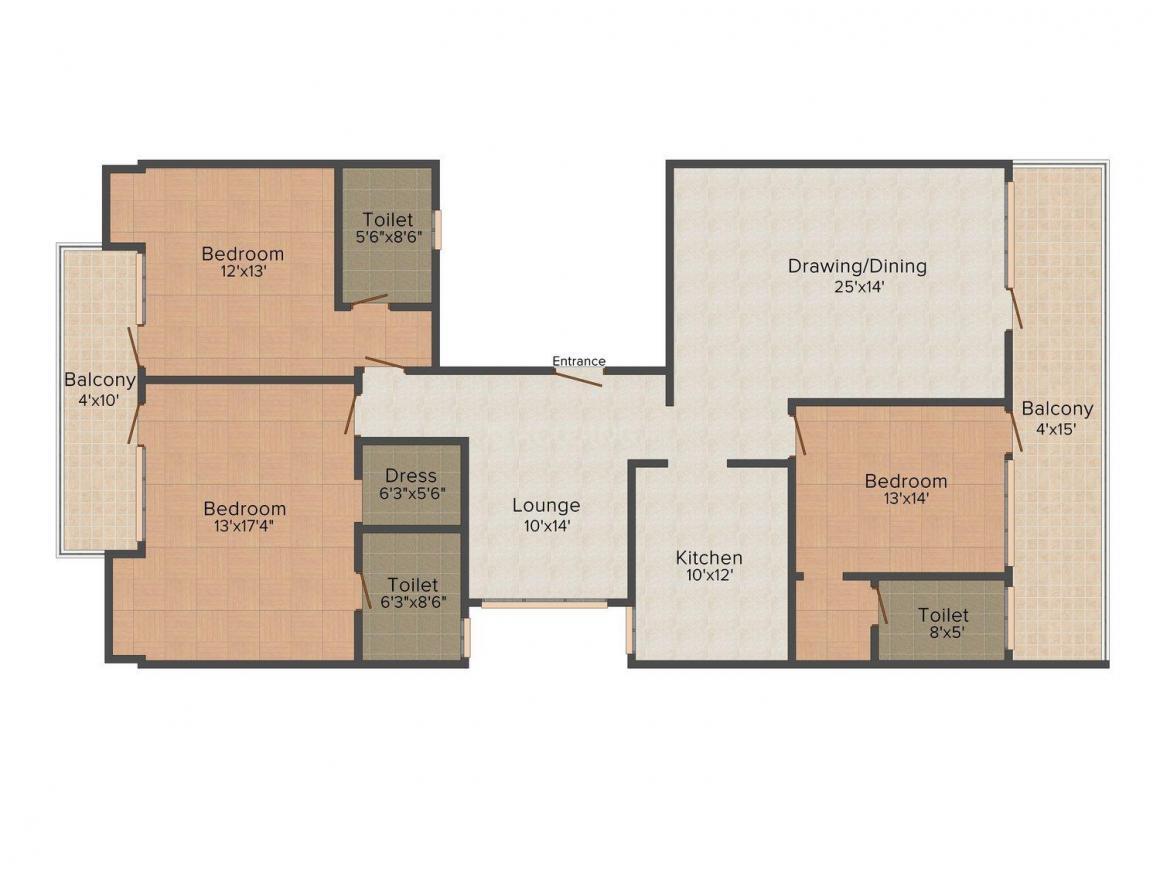 Cornerston Floors, H-57, Aaron Floor Plan: 3 BHK Unit with Built up area of 1800 sq.ft 1