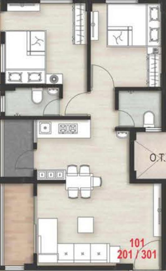 Maniratnam Swastik Residency 1 Floor Plan: 2 BHK Unit with Built up area of 555 sq.ft 1