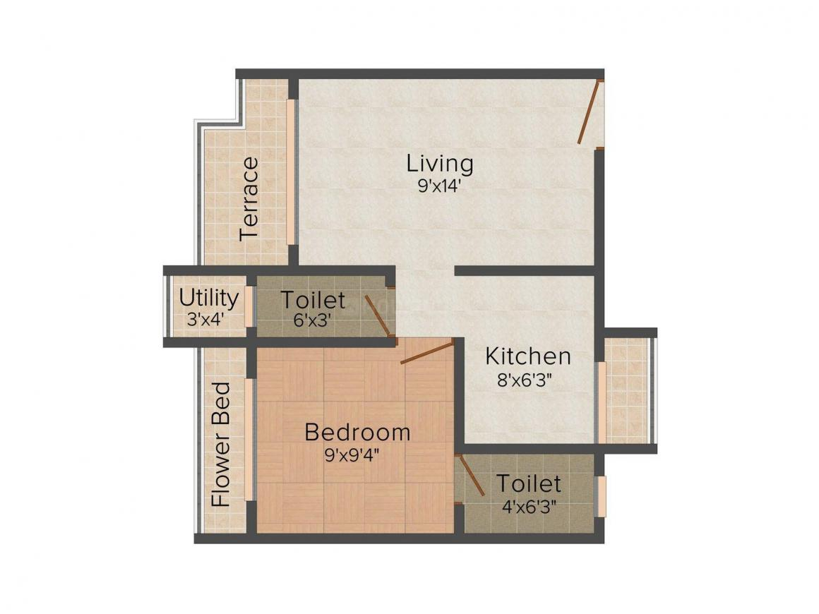 Floor Plan Image of 0 - 590.0 Sq.ft 1 BHK Apartment for buy in Serene Daffodils