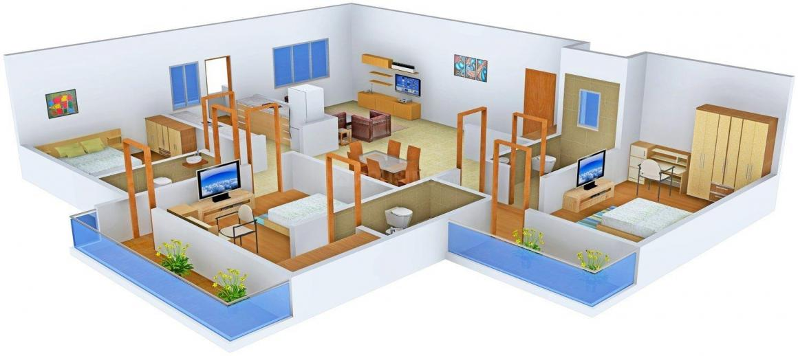 Urbane Lakkshya Buildwell 9 Floor Plan: 3 BHK Unit with Built up area of 2250 sq.ft 1