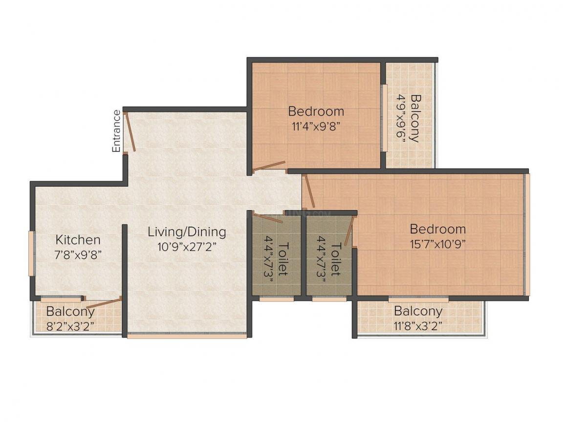 Floor Plan Image of 1066 - 1660 Sq.ft 2 BHK Apartment for buy in Alpha Acacia Apartments