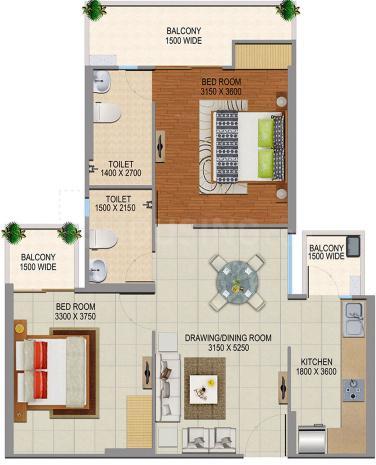 Divyansh Onyx Floor Plan: 2 BHK Unit with Built up area of 1080 sq.ft 1