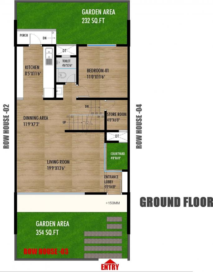 Abhinav Sahwas Row Houses Floor Plan: 4 BHK Unit with Built up area of 2835 sq.ft 1