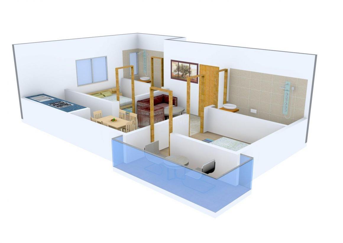 Floor Plan Image of 980.0 - 2000.0 Sq.ft 2 BHK Apartment for buy in Bengal Abasan Urban Sabujayan