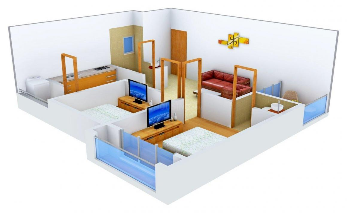 Ajramar Aagam Residency Floor Plan: 2 BHK Unit with Built up area of 1020 sq.ft 1