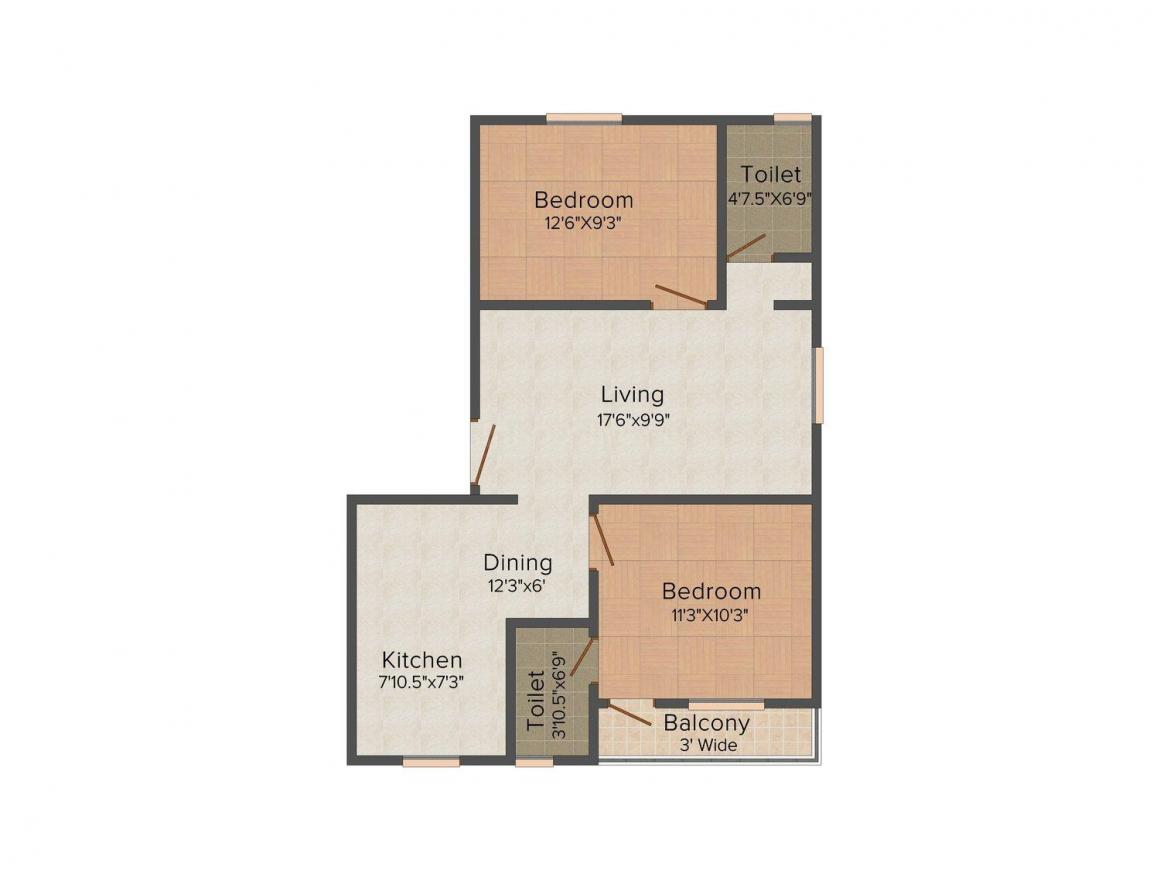 Floor Plan Image of 579.0 - 981.0 Sq.ft 1 BHK Apartment for buy in IKS Sahayadri