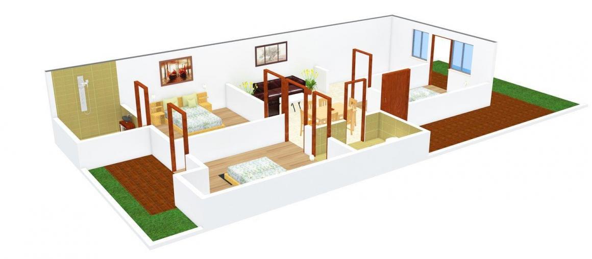 Floor Plan Image of 0 - 1100.0 Sq.ft 3 BHK Independent Floor for buy in Taneja Floors 4