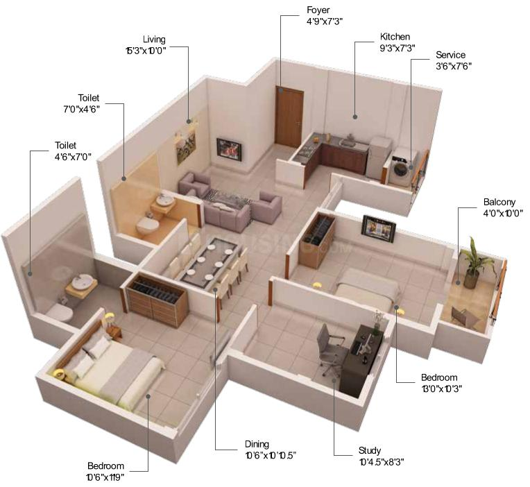 PS Nexterra  Floor Plan: 2 BHK Unit with Built up area of 1155 sq.ft 1