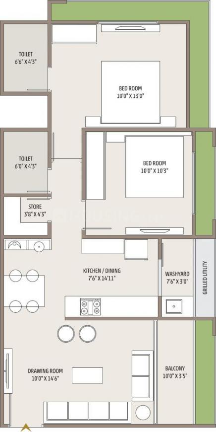Satvam Floor Plan: 2 BHK Unit with Built up area of 621 sq.ft 1