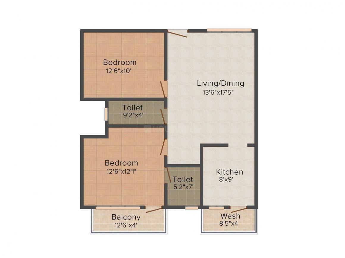 Floor Plan Image of 145.0 - 160.0 Sq.ft 2 BHK Apartment for buy in Acacia Shambavi