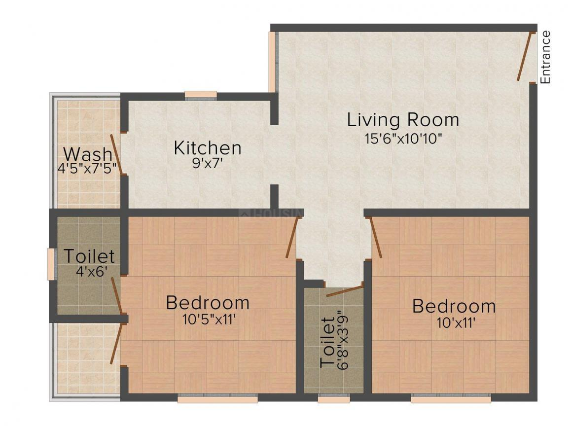 MD Maruti Shristi Floor Plan: 2 BHK Unit with Built up area of 675 sq.ft 1
