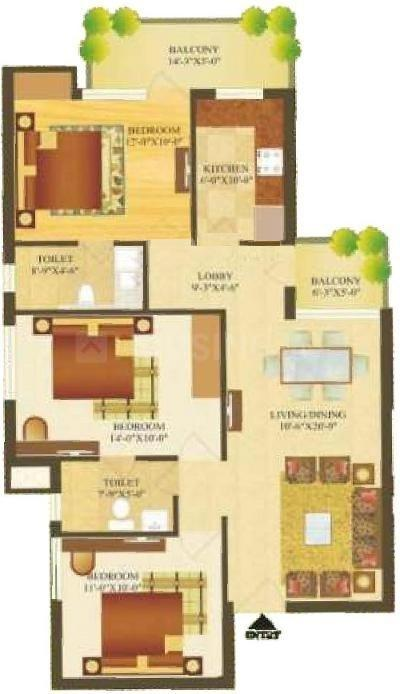 Sare Green Parc 2 Floor Plan: 3 BHK Unit with Built up area of 1261 sq.ft 1
