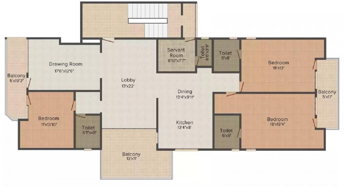 CRS Pratham Premium Valley Floor Plan: 2 BHK Unit with Built up area of 2000 sq.ft 1