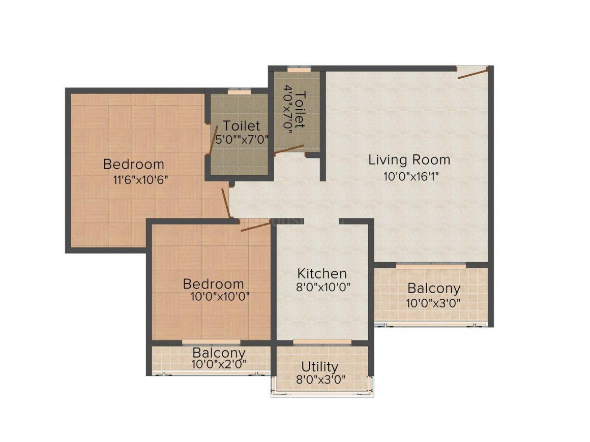Floor Plan Image of 1120 - 1400 Sq.ft 2 BHK Apartment for buy in Galaxy Nebula