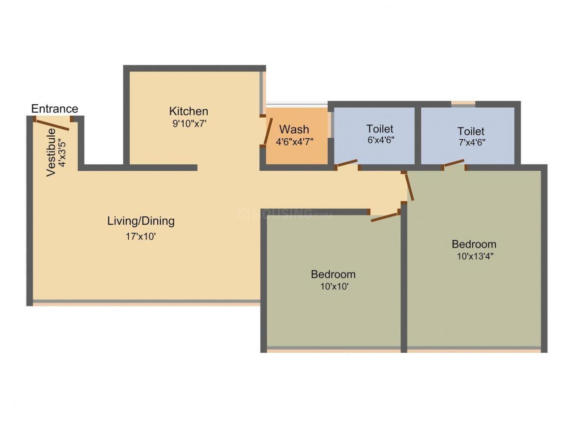 Saanvi Sky Sol Floor Plan: 2 BHK Unit with Built up area of 1105 sq.ft 1