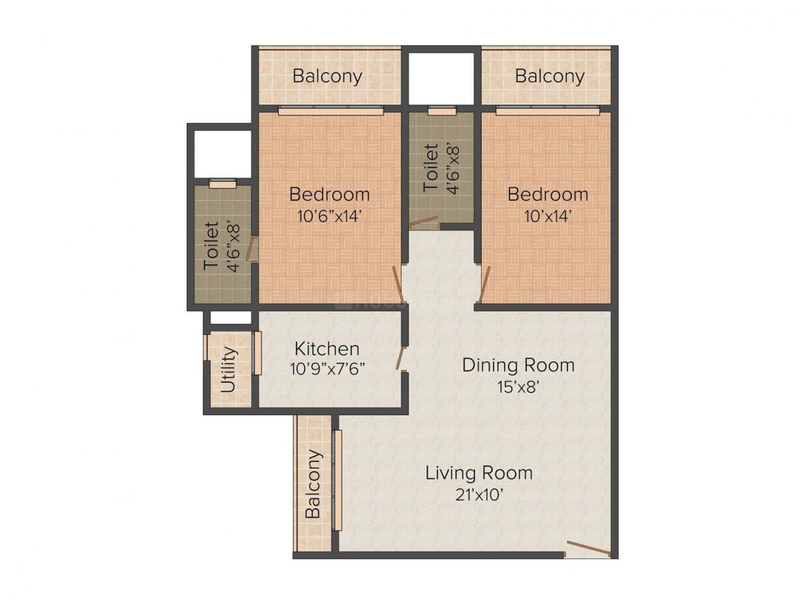 Floor Plan Image of 1385.0 - 1700.0 Sq.ft 2 BHK Apartment for buy in Bhoomi Flora