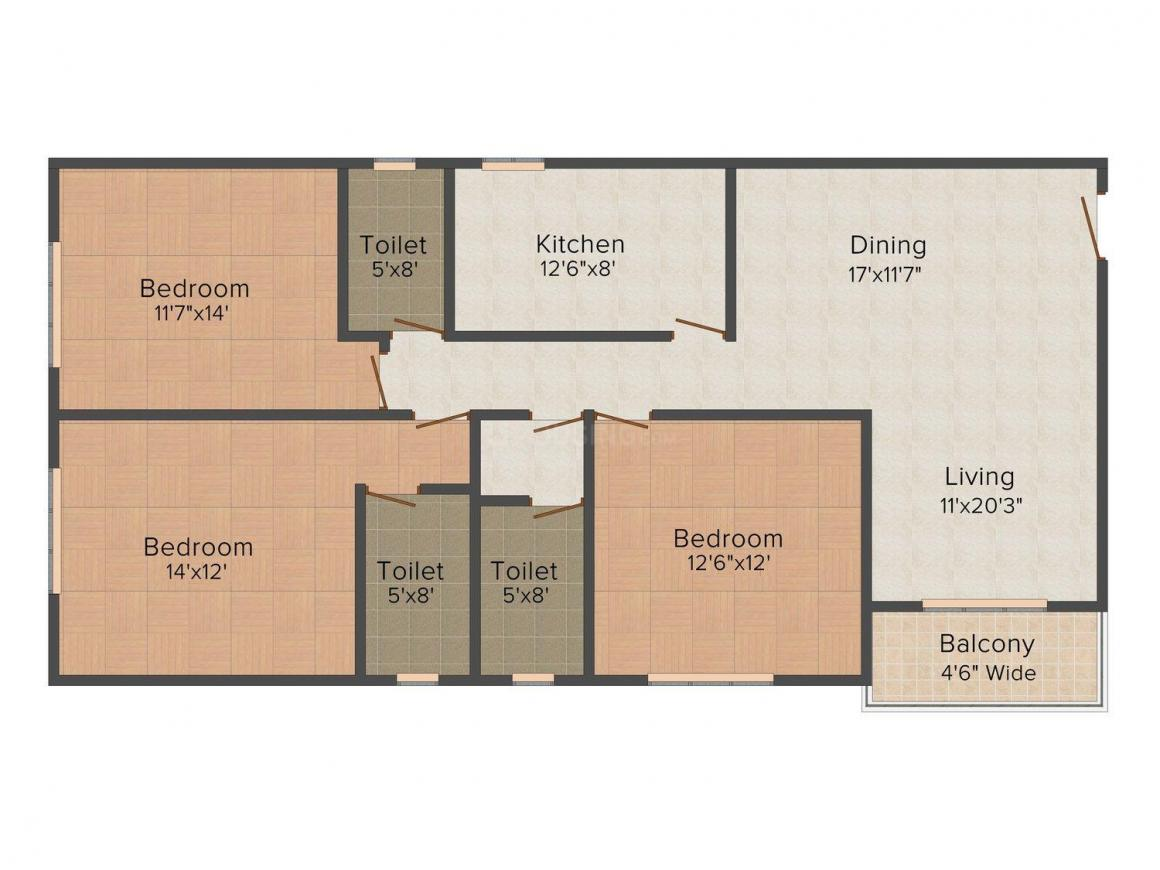 Floor Plan Image of 1079.0 - 1681.0 Sq.ft 3 BHK Apartment for buy in Arch Arihant Viento
