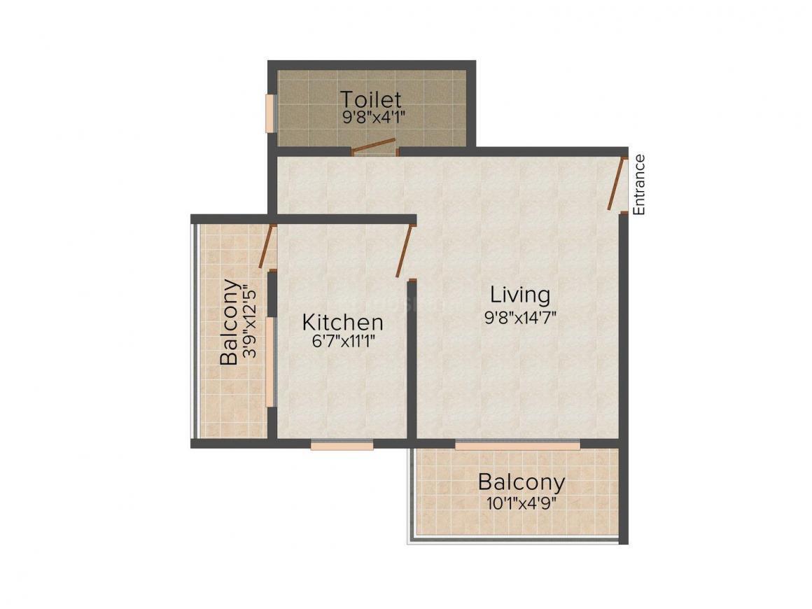 Floor Plan Image of 505.0 - 678.0 Sq.ft 1 RK Apartment for buy in Shantilal Gadegaal Hills