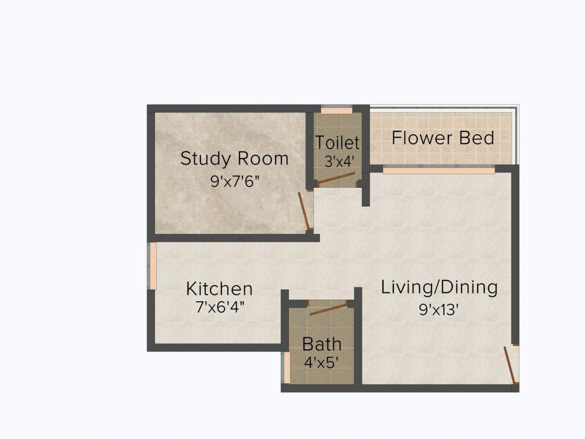 Floor Plan Image of 595.0 - 990.0 Sq.ft 1 BHK Apartment for buy in Jainam Ratna