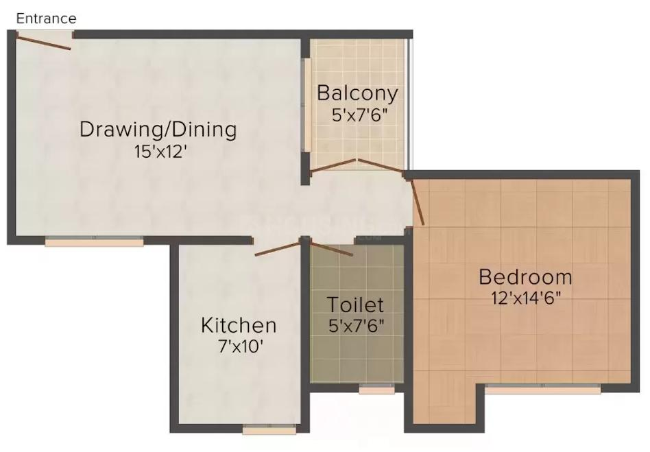 Antriksh India IT Residency Floor Plan: 1 BHK Unit with Built up area of 950 sq.ft 1
