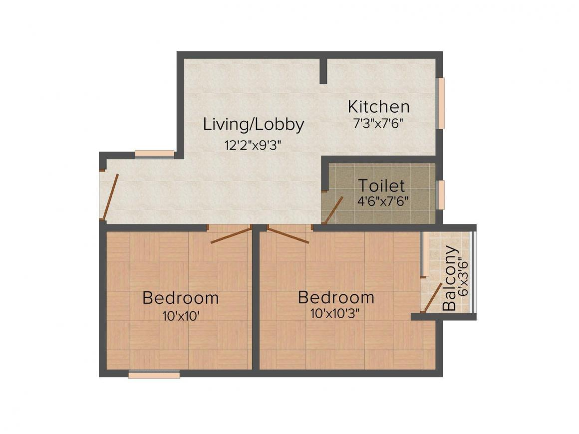 Floor Plan Image of 700 - 1000 Sq.ft 2 BHK Villa for buy in Beriwal Shriji Shivasha Estate