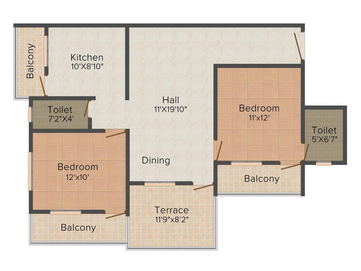 Floor Plan Image of 1172.0 - 1490.0 Sq.ft 2 BHK Apartment for buy in Satyam Flora