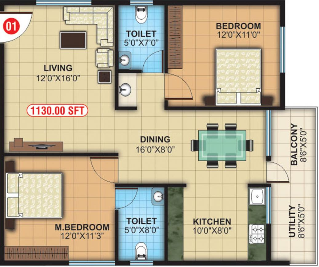 SNR White Petals Floor Plan: 2 BHK Unit with Built up area of 1130 sq.ft 1