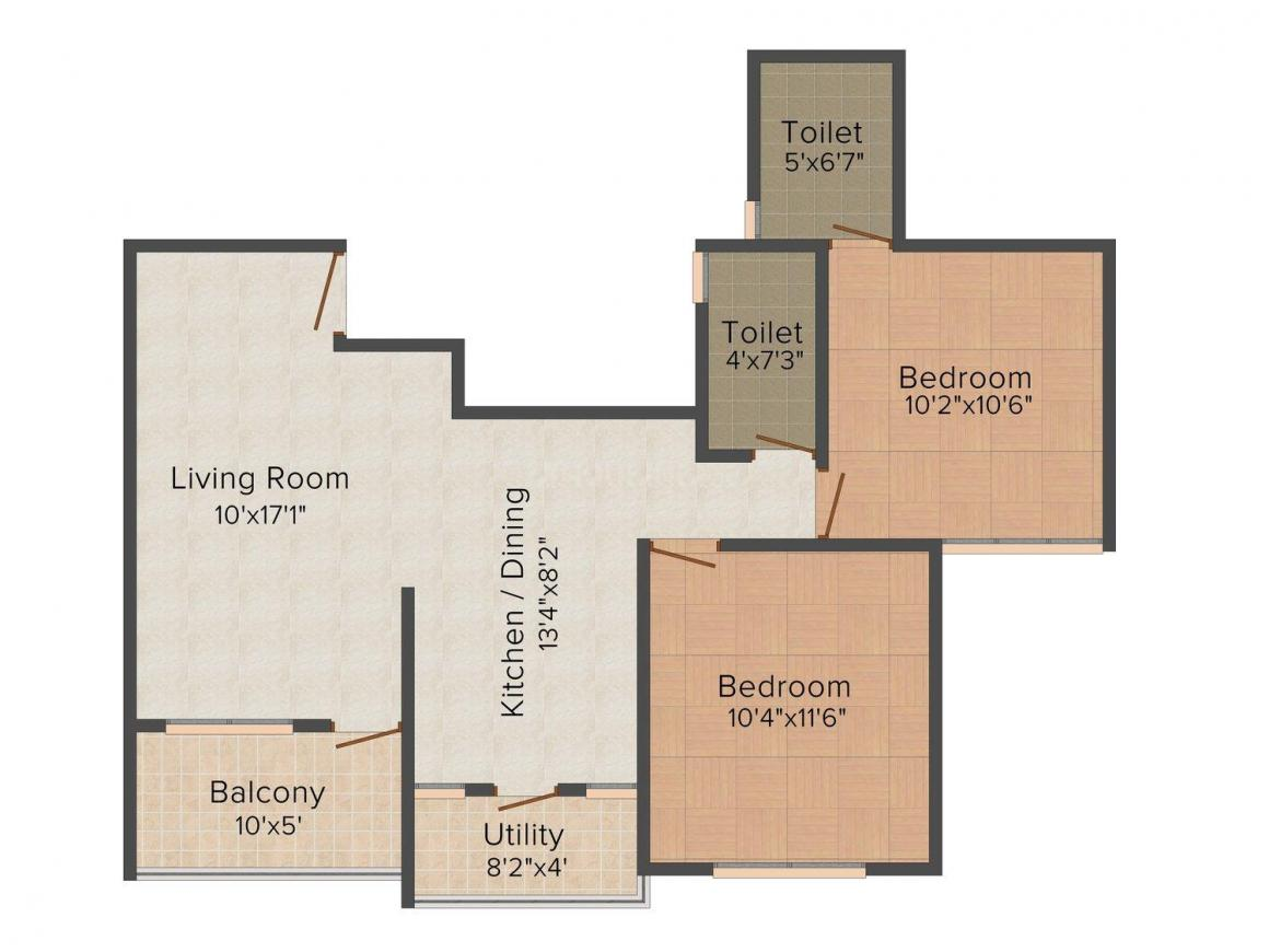 Floor Plan Image of 674.0 - 740.0 Sq.ft 2 BHK Apartment for buy in Deep Akash Bliss