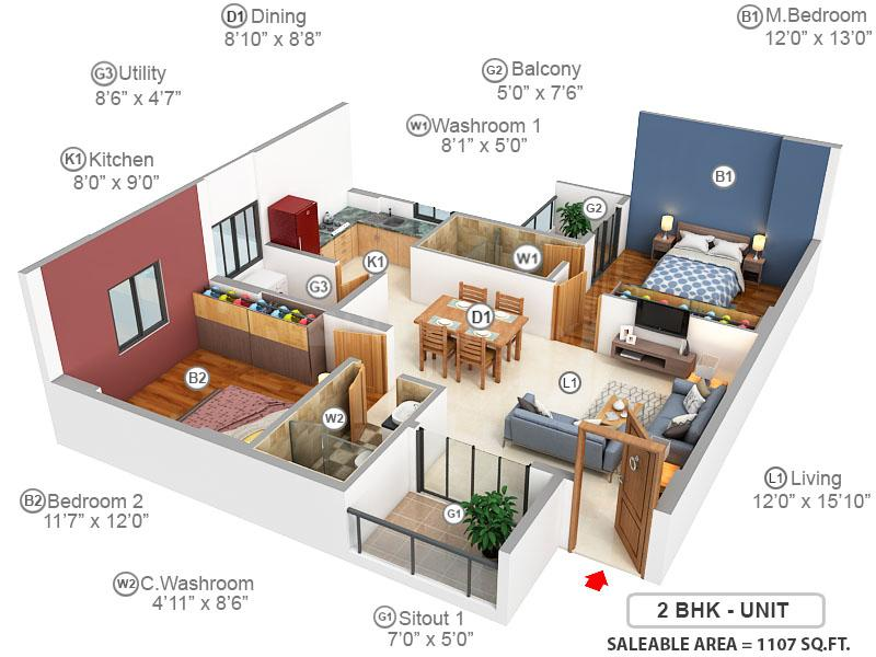 T G Ascent Floor Plan: 2 BHK Unit with Built up area of 1107 sq.ft 1