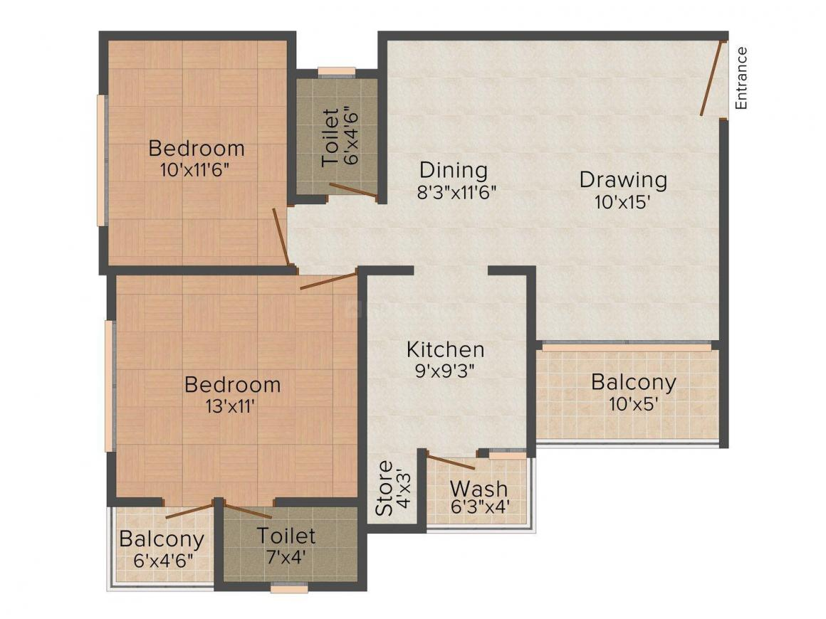 Shayona Shayona Tilak 2 Floor Plan: 2 BHK Unit with Built up area of 990 sq.ft 1