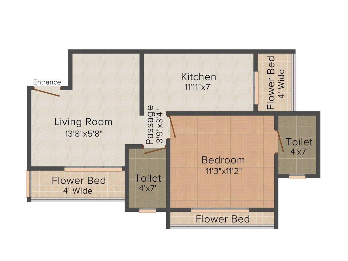 Floor Plan Image of 805.0 - 1690.0 Sq.ft 1 BHK Apartment for buy in Sethia Raj Shivganga