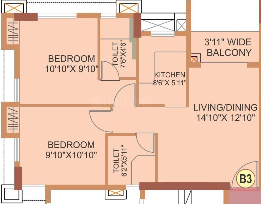 The Forest Floor Plan: 2 BHK Unit with Built up area of 688 sq.ft 1