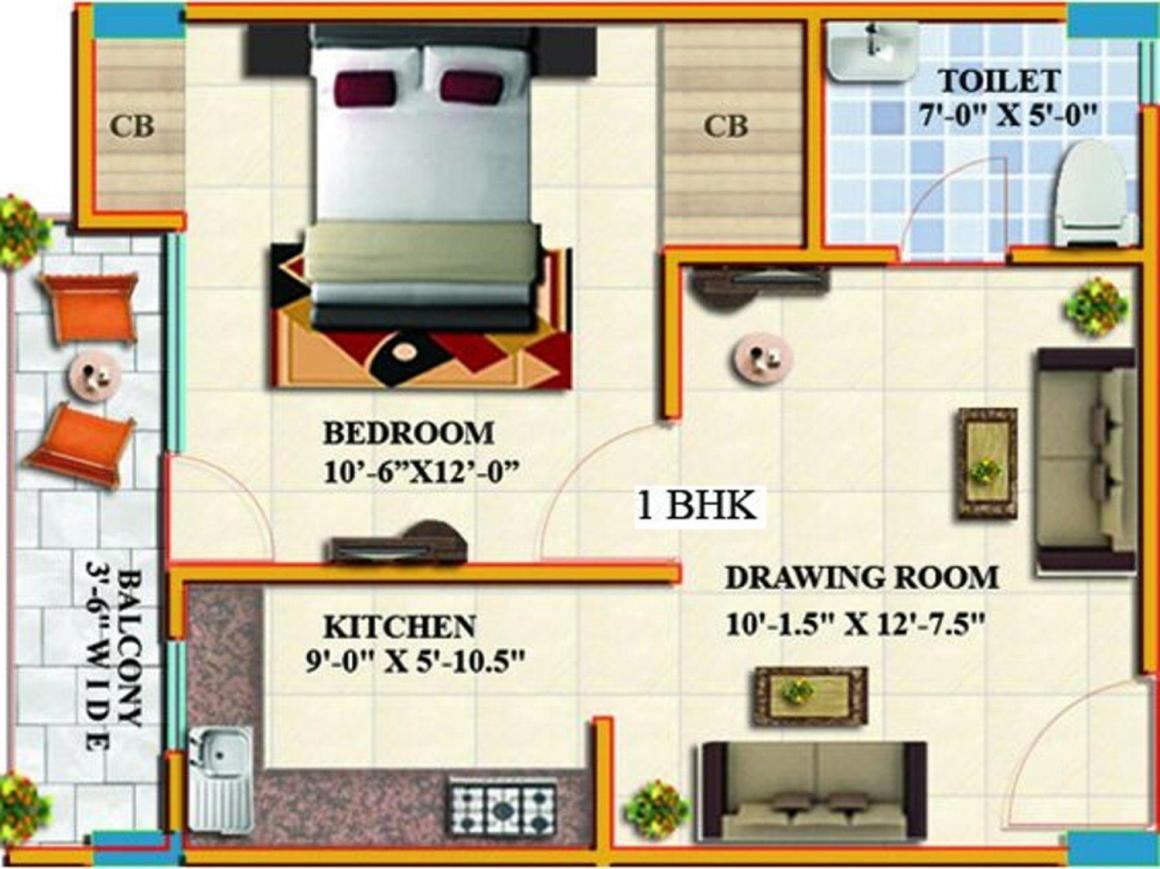 Alankar Vally Floor Plan: 1 BHK Unit with Built up area of 575 sq.ft 1