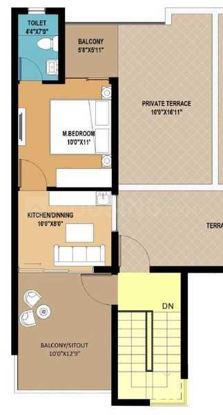 RPS Palm Drive Floor Plan: 1 BHK Unit with Built up area of 630 sq.ft 1